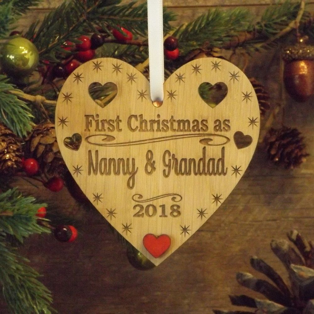 First 1st Christmas as Nanny & Grandad Personalised Heart Decoration ...